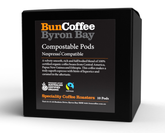 Bun Coffee Byron Bay Pods – 100% Organic Blend