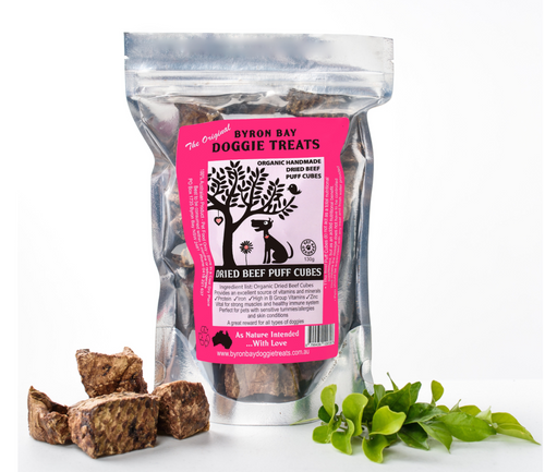 Byron Bay Doggy Treats - Organic Dried Beef Puff Cubes 120g