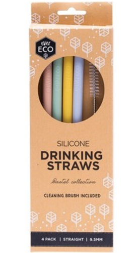 EVER ECO Silicone Straws - Straight Includes Cleaning Brush 4