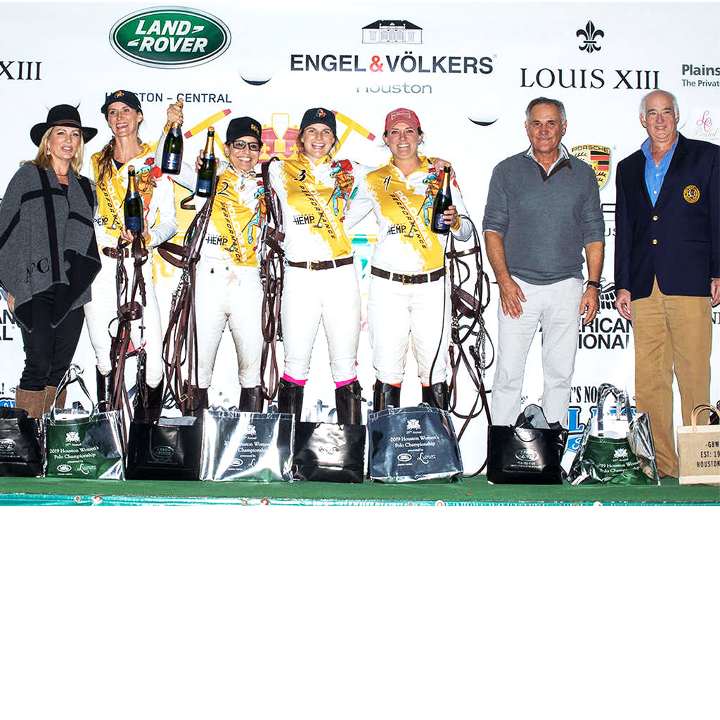 2019 Texas Women's Open Champions: Polo Gear - Meghan Gracida, Dawn Jones, Lottie Lamacraft, Tiffany Busch, presented by Anne Carl of Luxury Event Trailers and USPA Governor-at-Large Steve Armour, pictured with Memo Gracida. Congratulations Polo Gear!