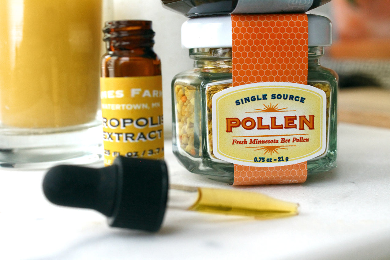 Apitherapy products: bee pollen, propolis, honey