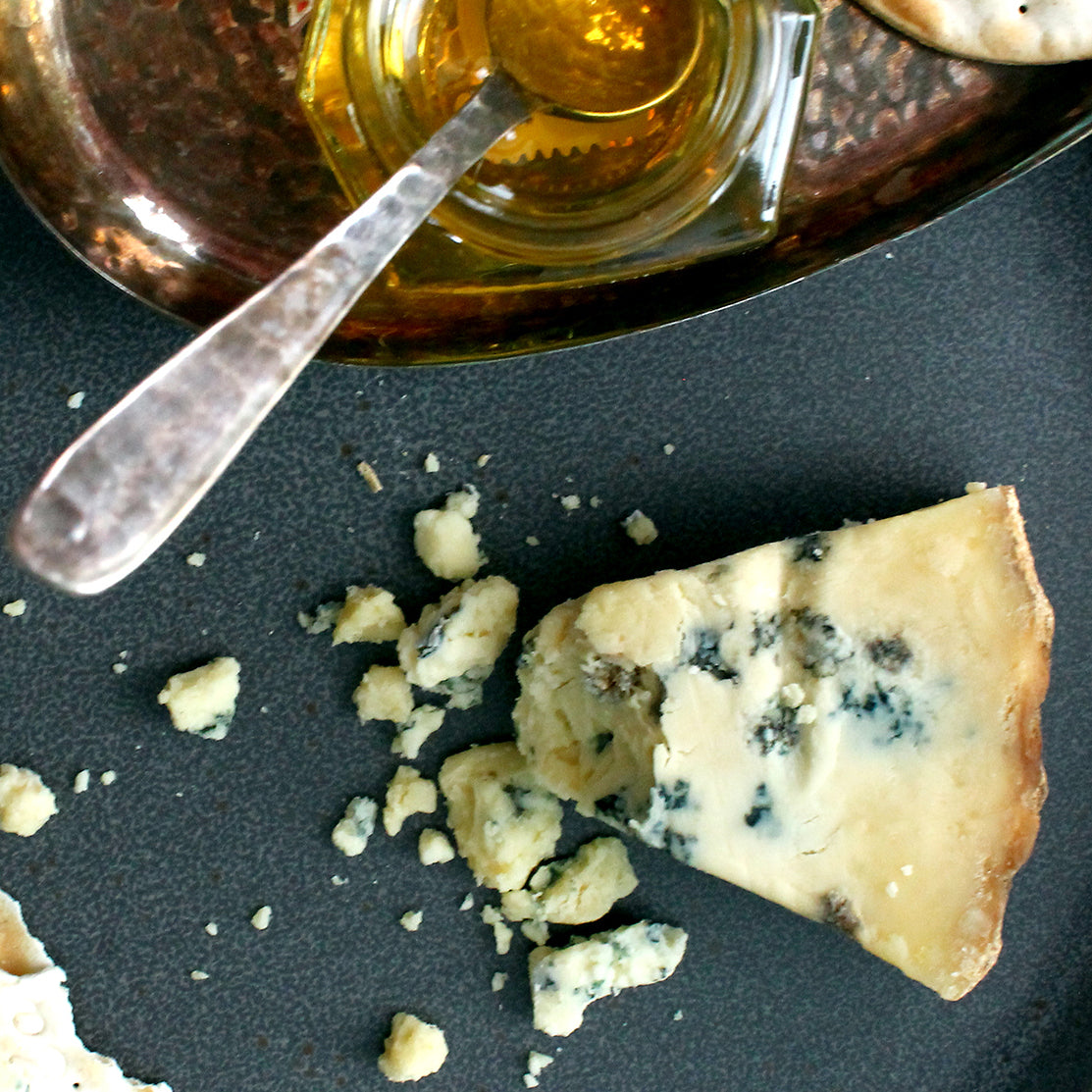 Aurora Blue Cheese from Cosmic Wheel with Ames Farm Minnesota Honey