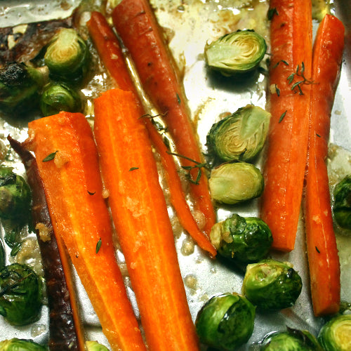 Fall Roasted Honey Glazed Vegetables (Carrots & Brussels Sprouts)