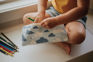 Blue Airplanes 100% Linen Reusable Snack Bag