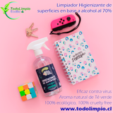 Limpiador higienizante de superficies Freemet en base a alcohol al 70%