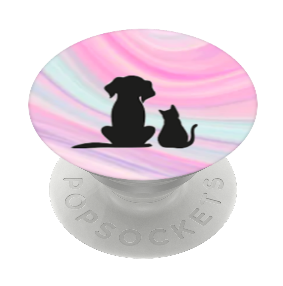 A dog and a cat sitting., PopSockets