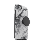 Otter + Pop  White Marble Symmetry Series Case, PopSockets