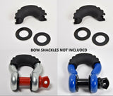 "2xD-Ring Black Bow Shackle Isolator Jeep Towing Off Road 3/4"" SILENCER No Noise"