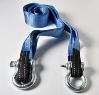 "3"" 26,000lbs Tow Strap 20 ft off-road snatch recovery w Galvanized Bow Shackles"