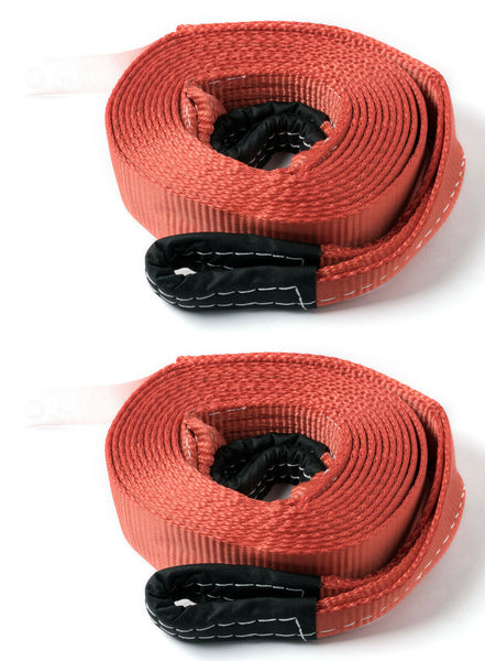 "2x Red 2""x20' 20000lb 9T 2x20ft SUV Truck Tow Strap winch rope off-road recovery"