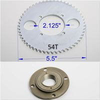 #T8F 8mm 54T 4 hole Sprocket chain drive gear+Free wheel f rear wheel GoKart ATV