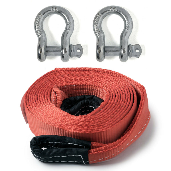 "2"" 20,000lbs Tow Strap 20 ft w Bow Shackles winch sling snatch vehicle recovery"