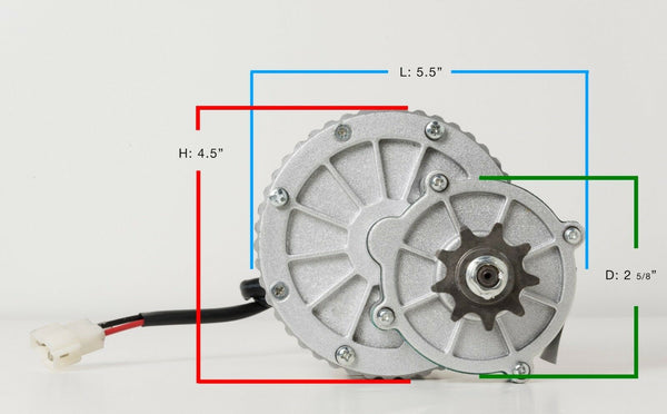 450W 24V electric brush motor 9T f bicycle ebike gear reduction DIY project