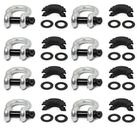 "8x 3/4"" D-Ring Bow Shackle BLACK Pin 10500 LB Plastic noise vibration Protector"