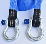 "3"" 26,000lbs Tow Strap 20 ft off-road snatch recovery w D-Ring Bow Shackle"