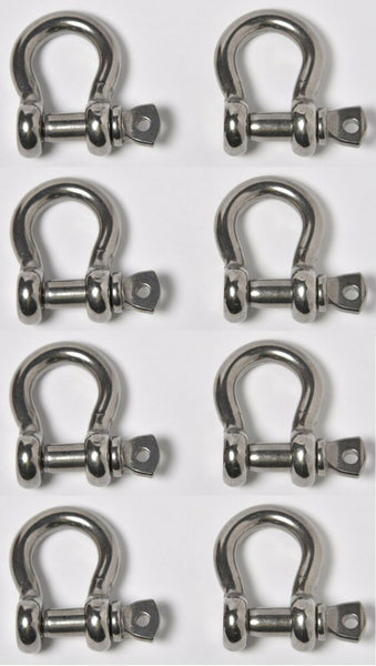 "8 pcs 3/8"" Anchor Shackle D Clevis Bow Ring 316 Stainless Steel Sailboat Rigging"