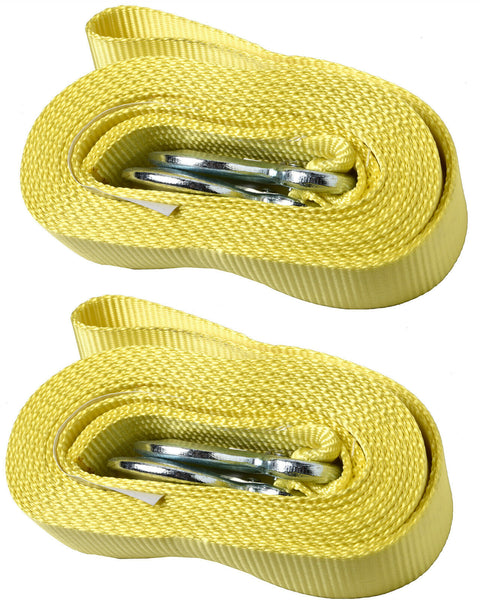 Two (2)2 Inch x 20 Ft. 2x20 Polyester Tow Strap Rope 2 Hooks 11,000lb Heavy Duty