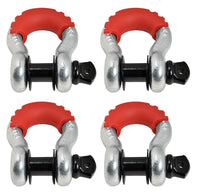 "(4) 3/4"" Bow Shackle D-Ring BLACK Pin 10500 Red noise vibration Reducer Jeep CJ"