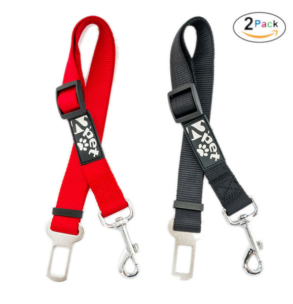 2x Red/Black Cat Dog Pet Safety Seatbelt f Car Vehicle Seat Adjustable Harness