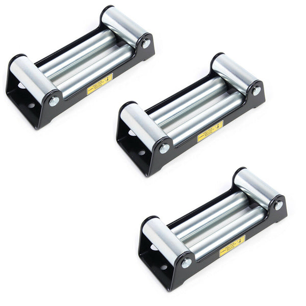 "3 Pack Heavy Duty Winch Roller Fairlead 10"" 4 Way Roller Cable Guide 12000 lb"