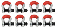 "8x 3/4"" DRing Bow Shackle BLACK Pin Red Plastic noise vibration Reducing Jeep CJ"