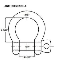 "3/8"" Anchor Shackle D Clevis Bow Ring 316 Stainless Steel Sailboat Rigging"