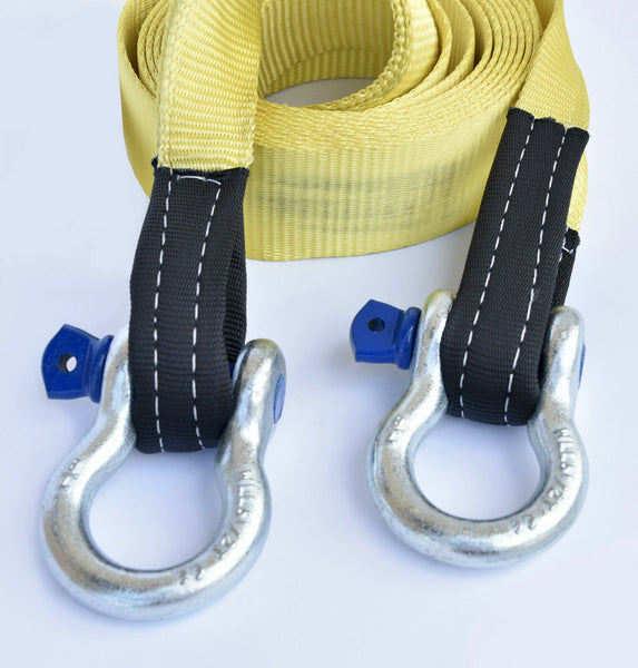 "3"" 20000lbs Tow Strap 20 ft w D Rings winch sling off-road vehicle recovery"