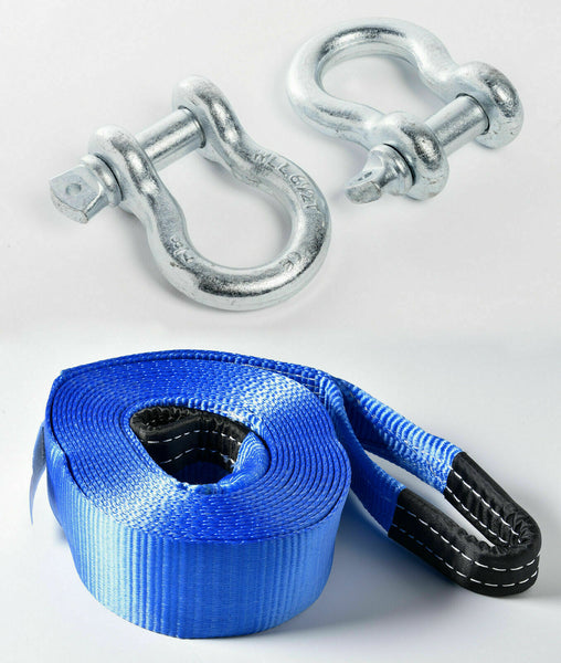 "3"" 26k lb12T Tow Strap 30ft winch off-road snatch recovery+ Galvanized Shackles"