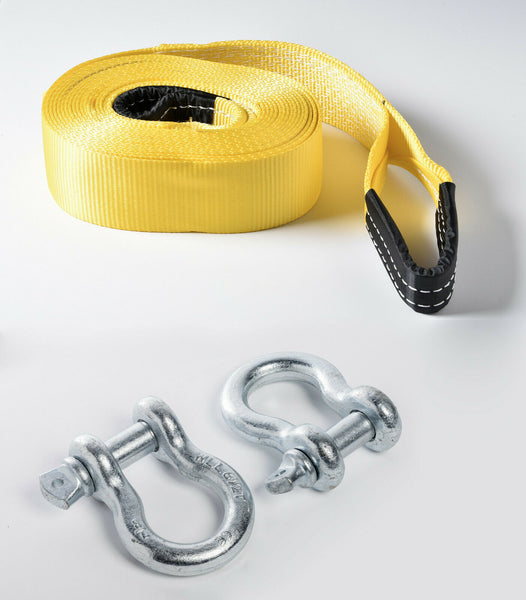 "3"" 30 ft 20,000 lbs Tow Strap w Galvanized Bow Shackles winch tree saver snatch"