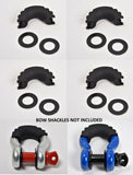 "4x 3/4"" D-Ring Black Jeep Bow Shackle Isolator Kit Silencer anti Noise Vibration"
