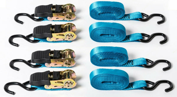 "4 pack 1""x15' Blue Ratchet Tie-Down Straps f Motorcycle Kayak 1x15 1500lbs 680Kg"