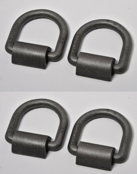 "(4) 5/8"" D Ring Weld On Tie Down Flatbed Truck Trailer Chain Ratchet Strap Cargo"