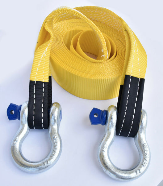 "3"" 20,000 lbs Tow Strap w Bow Shackles 3x30 ft winch tree saver snatch recovery"