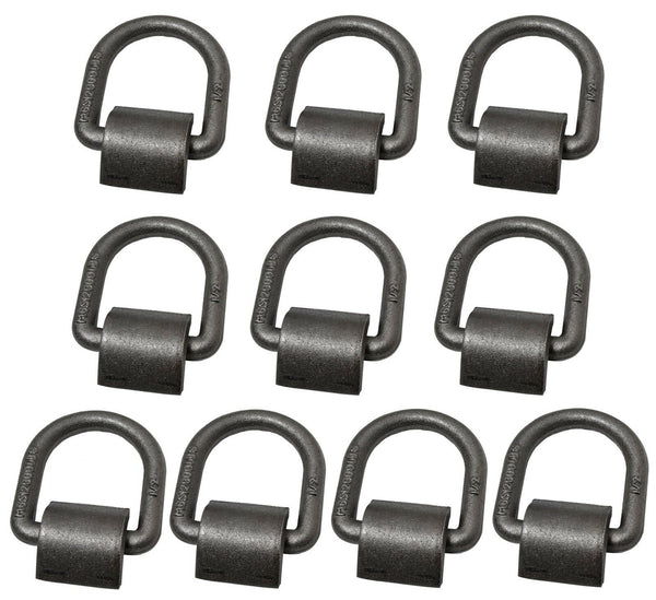 "(10) 1/2"" D Ring Weld-On Flatbed Truck Trailer Ratchet Strap Cargo Tie Down Ring"
