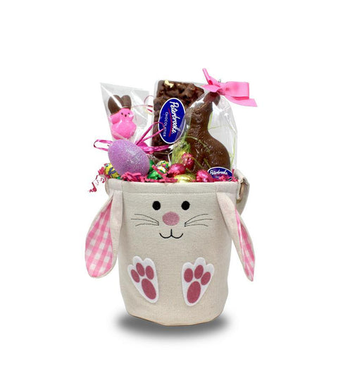 Gingham Embroided Easter bunny bucket- Boy and Girl