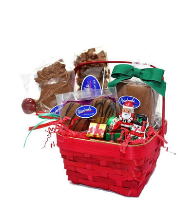 Mini Red Holiday Basket of assorted chocolates