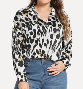 camisa talla grande estampado animal