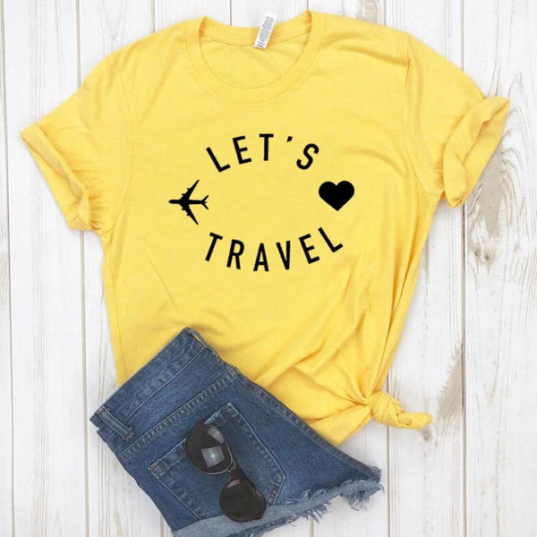 camiseta lets travel viajar