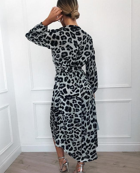 vestido animal print blanco gris