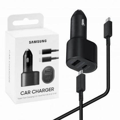 Official Samsung Galaxy S21 / S21 Plus 45W PD Dual Fast Car Charger Black - Uk Mobile Store