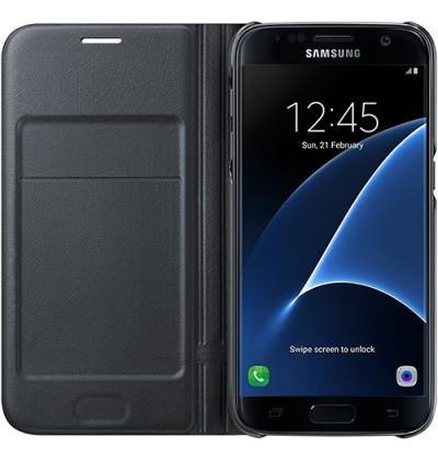 Official Samsung Galaxy S7 LED Flip Wallet Cover Black