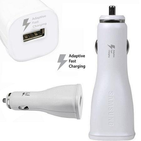 Official Samsung Galaxy A3 2018 Fast Car Charger with USB-C Cable White