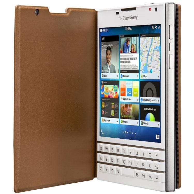 BlackBerry Passport Leather Flip Case Tan - ACC-59524-002