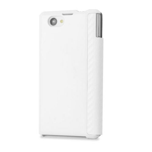 Sony Xperia Z1 Compact Book Flip Case - Carbon White