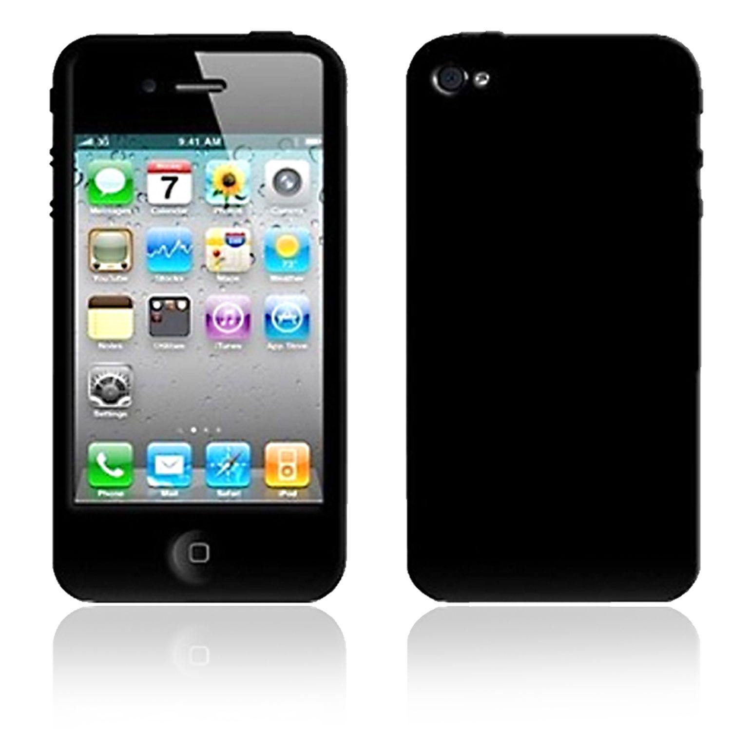 Black Silicone Case for iPhone 4/4S - Uk Mobile Store