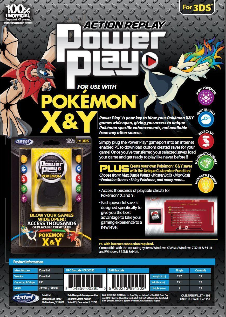 Datel Action Replay Power Play for Use with Pokemon X & Y