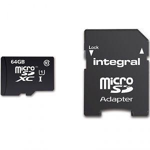 Integral 64GB Micro SDXC Memory Card / SD Adapter - Class 10