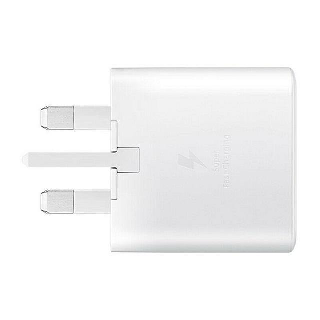 Official Samsung Galaxy S21 Plus 25W Fast Mains Charger With Cable White EP-TA800 - Uk Mobile Store