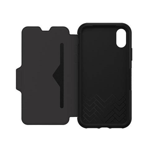 OtterBox iPhone X Strada Folio Leather Wallet Case Black