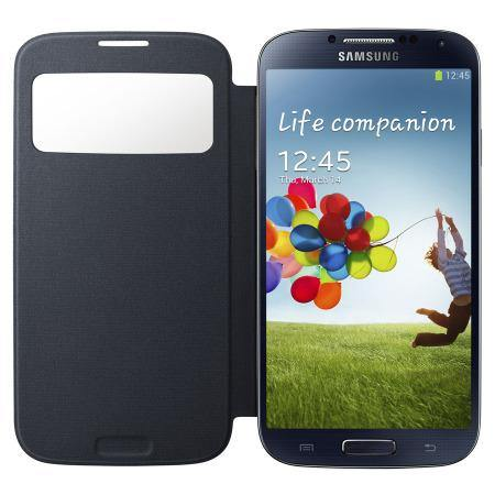Genuine Samsung Galaxy S4 S-View Premium Cover Case - Black